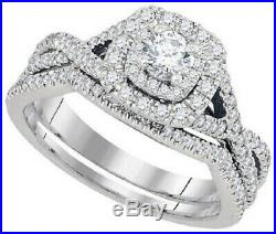 Diamond 10k Solid White Pure Real Gold Ladies Engagement Wedding Band Ring Set
