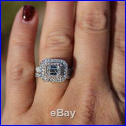 Diamond Bridal Set Real 10K Two Tone Pure Gold Engagement Ring Wedding Band