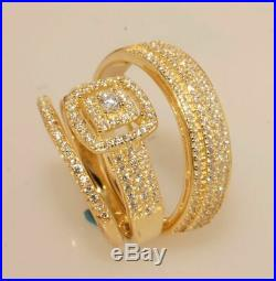 Diamond His And Her Bridal Ring Wedding Band Trio Set Real 14K Yellow Pure Gold
