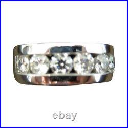 Diamond Round Br Shape Channel Set Band 2.05 Ct 14 K White Gold