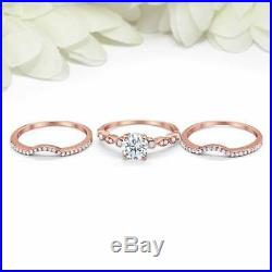 Diamond Solid 10k Rose Real Pure Gold Women's Engagement Ring Band 3pcs Set 2CT