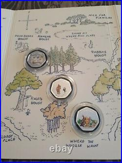 Disney Winnie The Pooh 24k Pure Gold &. 999 Silver Proof Coin Set With Coa's