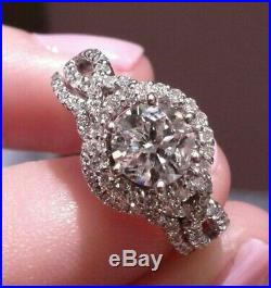 Engagement Wedding Band Ring Set 10k Real White Pure Gold Round 2.50 Ct Diamond