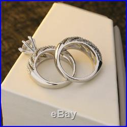 Engagement Wedding Ring Set 2.15ct Round Cut Diamond Pure Real 10k White Gold