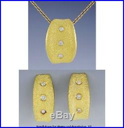 Exquisite High End 9999 Pure Gold Diamond Earrings & Pendant Set