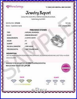 FINE 2.60CT Natural DIAMONDS I/SI1 Bridal Set, PURE 14KT White Gold, 7365.00