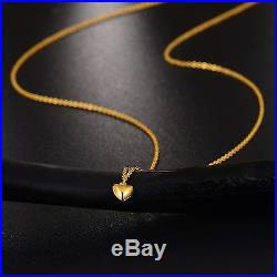 Fine Pure 999 24K Yellow Gold Chain Set Women O Link Heart Necklace 16inch
