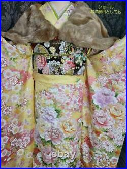 Furisode Full Set Gem Pure Silk Embroidery Flower Garden Dyed With Ayes Gold
