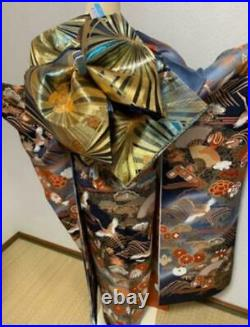 Furisode Gold Piece Embroidery Pure Silk Set