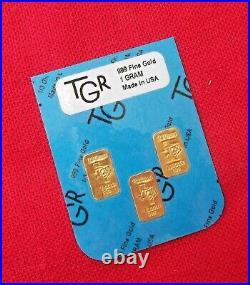 GOLD 1 GRAM TGR BULLION BARS 999.9 THE PERFECT PREPPER COMBO SET bin13