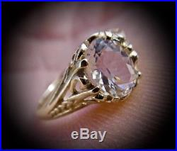 Genuine. 9 Carat Herkimer Diamond set in a PURE 14K YELLOW GOLD RING (Size 7)