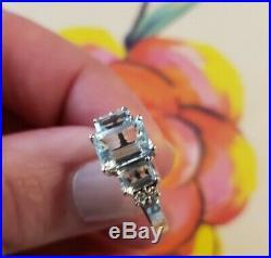 Genuine Aquamarine & Diamond Ring White Gold setting. Perfect condition. Size 6