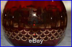 Genuine MURANO VENETIAN Glass Decanter Set, Ruby Red & 24K Gold, Signed, Perfect