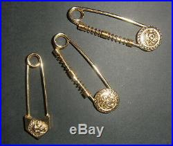 Gianni Versace Safety Pins. Set of 3 Vintage 1990s Gold Plated Pins. Perfect