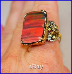 Giant Ammolite set in Pure 925 Sterling Silver and 18K Gold Overlay Ring size 9
