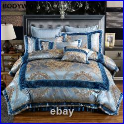 Gold Luxury Wedding Bedding Set King Size Pure Cotton Dyeing Jacquard Bed Set