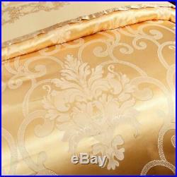 Gold color bedding set 4pcs Luxury Silk Jacquard pure cotton Duvet Cover sheets