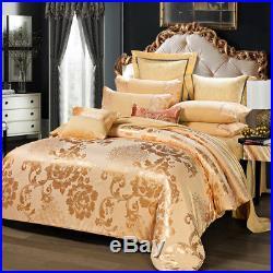 Gold color bedding set 4pcs Upscale Silk Jacquard pure cotton Duvet Cover sheets