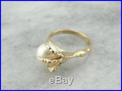 Gothic Statement, Golden Dragon Claw Ring with Perfect White Pearl set in Yellow