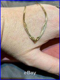 H SAMUEL 9ct GOLD FLAT HEART NECKLACE & BRACELET SET PERFECT VALENTINES GIFT