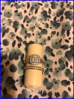 H Samuel 9 Carat Perfect Fit White Gold Ladies Bridal Ring Set Size