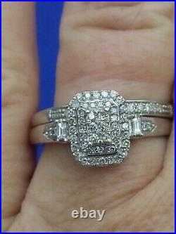 H Samuel 9 Carat White Gold 0.33 Ct Diamond 2 Ring Perfect Fit Bridal Set P 4.5g