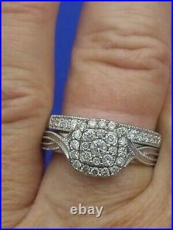 H Samuel 9 Carat White Gold 0.66 Ct Diamond Ring Perfect Fit Bridal Set O 5.5g