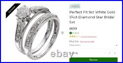 H Samuel 9ct White Gold 0.25 Ct Diamond Ring Perfect Fit Bridal Set Sz R 4.9g