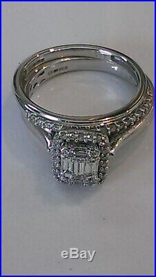H Samuel 9ct White Gold 0.33 Carat Diamond Ring Perfect Fit Bridal Set K 4.2g