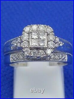H Samuel 9ct White Gold 0.5 Ct Diamond Ring Perfect Fit Bridal Set Sz M. 5 4.8g