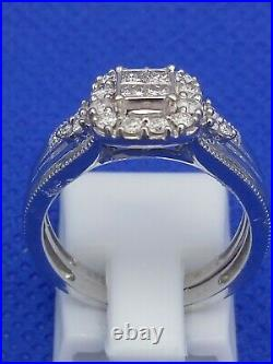 H Samuel 9ct White Gold 0.5 Ct Diamond Ring Perfect Fit Bridal Set Sz M. 5 4.8g