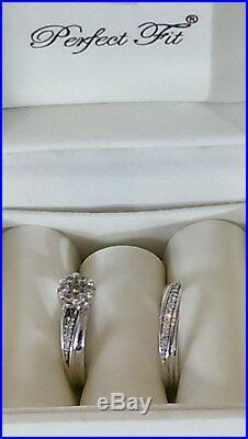 H Samuel 9ct White Gold 0.50 Carat Diamond Ring Perfect Fit Bridal Set K-L 5.9g