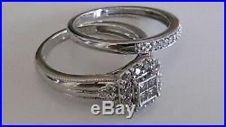 H Samuel 9ct White Gold 0.50 Carat Diamond Ring Perfect Fit Bridal Set M 4.5g
