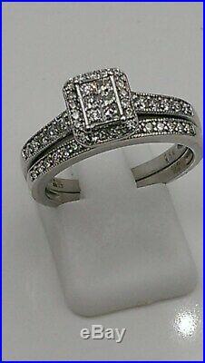 H Samuel 9ct White Gold 0.50 Carat Diamond Ring Perfect Fit Bridal Set O 5.1g