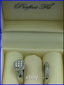 H Samuel 9ct White Gold 0.50 Ct Diamond Ring Perfect Fit Bridal Set Size L 4.5g