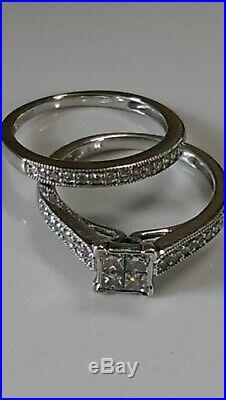 H Samuel 9ct White Gold 0.50 Ct Diamond Ring Perfect Fit Bridal Set Sz L 4.2g