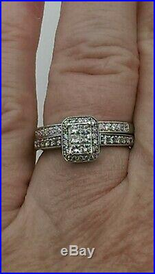 H Samuel 9ct White Gold 0.50 Ct Diamond Ring Perfect Fit Bridal Set Sz M 5.0g