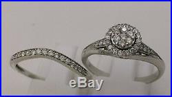 H Samuel 9ct White Gold 0.50 Ct Diamond Ring Perfect Fit Bridal Set Sz R. 5 4.7g