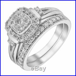 H Samuel 9ct White Gold 0.66 Ct Diamond Ring Perfect Fit Bridal Set M. 5.5g