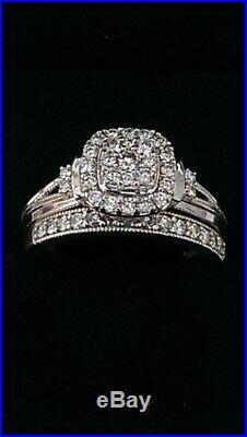 H Samuel 9ct White Gold 0.66 Ct Diamond Ring Perfect Fit Bridal Set Sz I 5.1g
