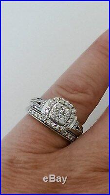 H Samuel 9ct White Gold 0.66 Ct Diamond Ring Perfect Fit Bridal Set Sz J. 5.4g