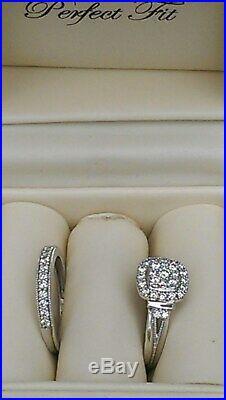 H Samuel 9ct White Gold 0.66 Ct Diamond Ring Perfect Fit Bridal Set Sz K. 5 5.6g