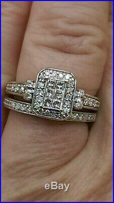 H Samuel 9ct White Gold 0.66 Ct Diamond Ring Perfect Fit Bridal Set Sz M 4.8g