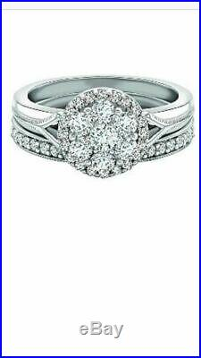 H Samuel 9ct White Gold 0.75 Carat Diamond Ring Perfect Fit Bridal Set Size I