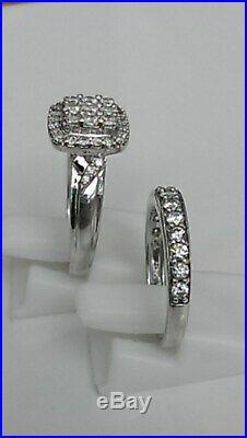 H Samuel 9ct White Gold 1.0 Carat Diamond Ring Perfect Fit Bridal Set J. 5 5.4g