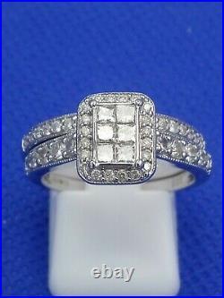 H Samuel 9ct White Gold 1.0 Carat Diamond Ring Perfect Fit Bridal Set Sz O 6.2g