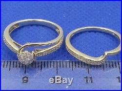 H Samuel 9ct Yellow Gold 0.15 Ct Diamond Ring Perfect Fit Bridal Set Sz M 4.0g