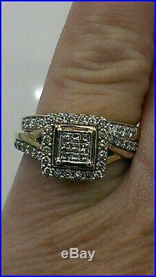 H Samuel 9ct Yellow Gold 0.66 Carat Diamond Ring Perfect Fit Bridal Set K 4.8g