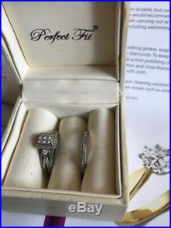H Samuel Perfect Fit Engagement Ring Bridal Set Size N. White Gold 9 Carat