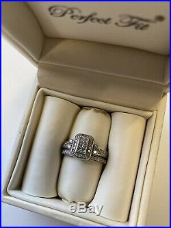 H Samuel Perfect Fit Engagement Ring & Wedding Ring Set 9ct White Gold Size P